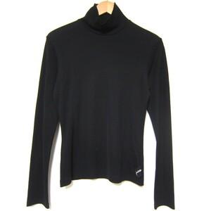 美品 Yohji Yamamoto ヨウジヤマモト ロゴ刺繍 ハイネック 長袖 Tシャツ カットソー サイズ2 黒 ブラック