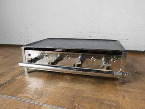 中古厨房 業務用 卓上 グリドル 鉄板焼き台 バーナー4本 都市ガス 鉄板厚み10mm W615×D375(490)×H180mm