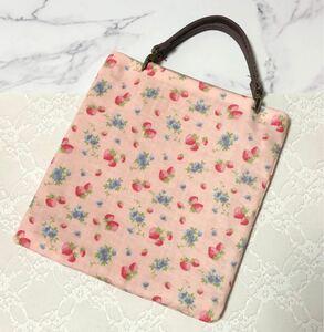 ハンドメイド ミニバッグ いちご YUWA限定生地使用 バッグインバッグ