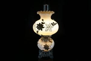 即決] コレクター蒐集品 ガラス ランプ テーブルランプ 高さ約56cm 幅約25cm (QJKJY1027