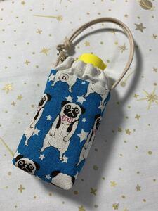 ハンドメイド♪ 手ピカジェル用ケース008 綿麻パグ柄ブルー ホルダーケース犬柄