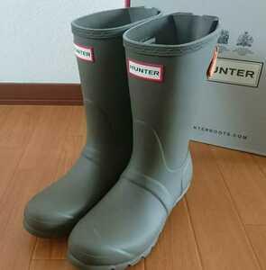 23cm HUNTER ハンター バックアジャスタブル 長靴 レインブーツ グリーン×オレンジ