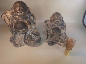 土人形 伏見人形 郷土玩具  布袋 布袋尊 2体 置物 七福神 江戸期 江戸時代