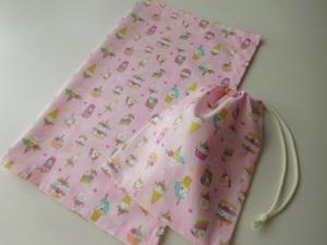 ユニコーン スイーツ ランチョンマット 巾着袋 セット 40×50 かわいい 給食袋 コップ入れ  小学校 女の子 ピンク ハンドメイド
