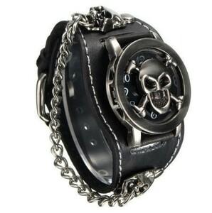 LDL257#ブラック パンク ロック ゴシック バンド ブレスレット チェーン スカル レザー ユニセックス 腕時計