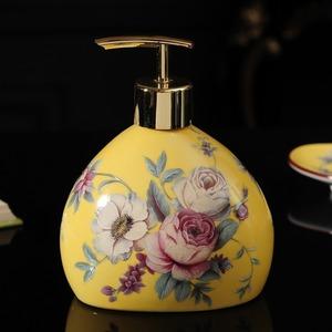 LDL952# 液体せっけん ディスペンサー 石鹸 ボトル 陶器 浴室 洗面台 バスルーム ハンドソープ 花柄 フラワー ギフト 高級感