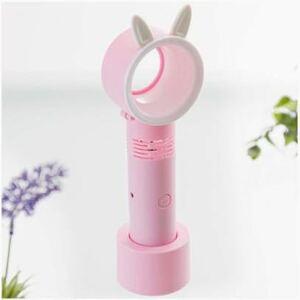 羽なし ハンディファン ミニ扇風機 LEDライト付き ピンク うさぎ 充電式 携帯扇風機 卓上スタンド USB充電 羽なし扇風機 手持ち扇風機