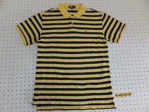 〈送料280円〉Polo by Ralph Lauren ラルフローレン キッズ ワンポイント刺繍 ボーダー 鹿の子 半袖ポロシャツ 170 黄色紺