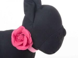 ペット用首輪 猫 小型犬 調整可能 合成革製 お洒落なバラの花飾り#Sサイズ/ローズ QZA-33549
