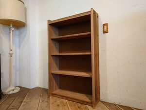 ビンテージ 木製 ブックシェルフ BS-130/レトロ モダン 本棚 食器棚 飾り棚 陳列棚 店舗什器 古道具 古家具