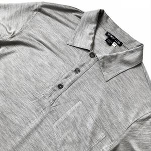 希少 HELMUT LANG ヘルムートラング 本人期 アーカイブ バスストップ期 オールシルク 半袖 ポロシャツ メンズ XS グレー シルク 100%