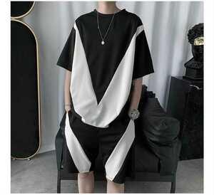 セットアップ 半袖 Tシャツ ハーフパンツ ルームウェア Lのみ メンズ 上下 ラフ シンプル オルチャン 韓国 原宿 黒 コメント歓迎