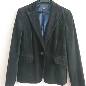 【最終価格】BASIQUES de VILLE ブラック ベロアテーラードジャケット ベロア素材 ポケット付き 9AR Mサイズ 着丈約60cm