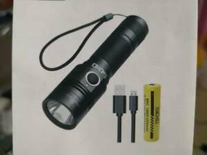 懐中電灯 led 強力 フラッシュライト USB充電式 高輝度 リチウム電池付属 ナイロン収納ポーチ付き 自転車付けホルダー付き