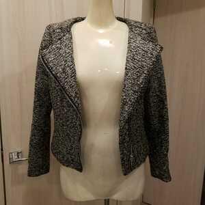 H&M新品ツイードメタリックシルバーライダースジャケット