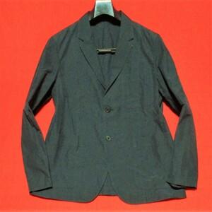 マーガレットハウエル★コットン/シルク 薄手2Bテーラードジャケット 裏地なし アンコン 春夏 紺黒 L MARGARET HOWELL テレワークにも◎