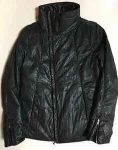 incarnation レザー ハイネック ダウン ジャケット M Black インカネーション High Neck Bias Zip Down Jacket Calf 革 ブラック 黒 カーフ