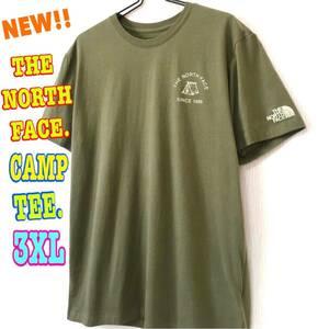 アウトドア☆ 新品 ノースフェイス キャンプ Tシャツ オリーブ 3XL 4L 日本未発売 レア US ワンポイント テント モスグリーン ビッグサイズ