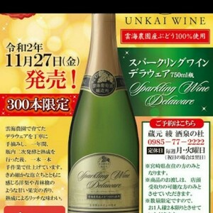 限定販売  デラウェア100%       スパークリングワイン  即日発送