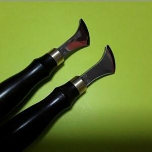 フチ捻 先端幅 1.0mm、 2.0mm  2個セット ステンレス ライン装飾 縫い代 レザークラフト 道具