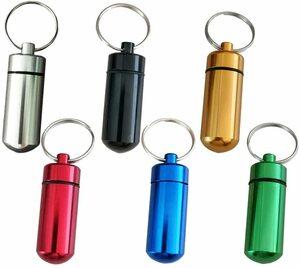 携帯 ピルケース キーホルダー 6個セット 薬ケース 防水 コンパクト 軽量 アルミ合金 薬入れ 携帯灰皿 カラー:(6色セット)