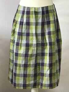 美品マーガレットハウエル、コットン、リネンチェック柄スカート、サイズ2、M、9号。MARGARET HOWELL