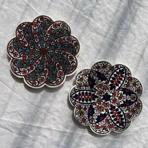 トルコ陶器製コースター2枚セット人気の柄2枚iznik01&03アクセサリートレイにもタイル風コースター