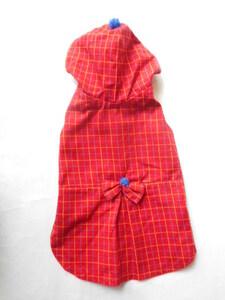 小型犬 小型犬 可愛い赤いパーカー チェック柄 S