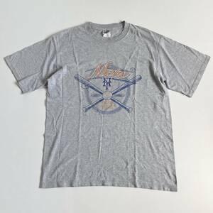 USA古着 Lee リー New York Mets ニューヨーク メッツ Tシャツ L グレー メンズ MLB 野球 ビンテージ メキシコ製 送料198円 21-0513