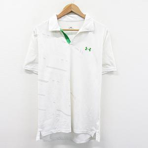 【即決】UNDER ARMOUR アンダーアーマー 半袖ポロシャツ 総柄 ホワイト系 LG [240001488685] ゴルフウェア メンズ