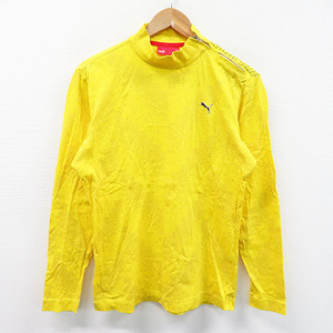【即決】PUMA GOLF プーマゴルフ ハイネック長袖Tシャツ 総柄 イエロー系 L [240001484069] ゴルフウェア メンズ