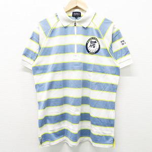 PEARLY GATES パーリーゲイツ ハーフジップ 半袖 ポロシャツ ボーダー柄 ホワイト系 6 [240001497897] ゴルフウェア メンズ