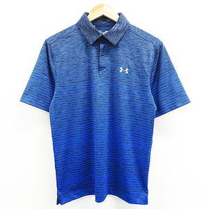 【即決】UNDER ARMOUR アンダーアーマー 半袖 ポロシャツ ボーダー ブルー系 MD [240001505012] ゴルフウェア メンズ