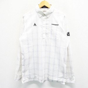 Lecoq golf ルコックゴルフ 長袖 ポロシャツ ボタンダウン 刺繍 ワッペン チェック ホワイト系 LL [240001535668] ゴルフウェア メンズ