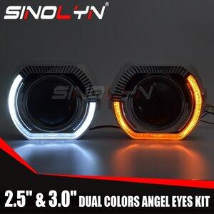 SINOLYNイカリング LEDプロジェクターヘッドライトレンズバイキセノンレンズ信号ライトH4 H7車レトロフィット
