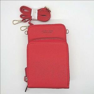 ◆高品質◆ スマホポーチ レディース ショルダーバッグ お財布ポシェットレッド
