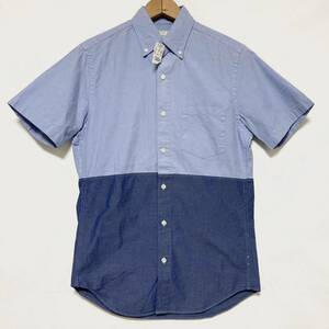 未使用 タグ付き J.CREW ジェイクルー jクルー バイカラー ポケット付 B.D 半袖 シャツ XS コットン100% ブルー ネイビー