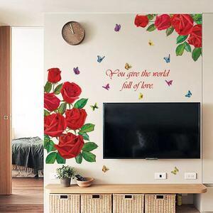 (NO.181)DIY剥がせる壁飾りウォールステッカー綺麗な仕上がり 赤いバラ