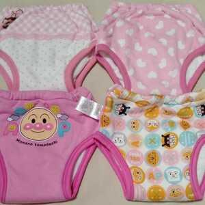 #AU32 アンパンマン ディズニー トレーニングパンツ トイレトレーニング トレパン 4枚 セット ピンク クリーニング済 80 90 女の子 女子