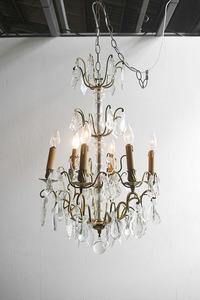 アンティーク フランス ブラス製 6灯 シャンデリア ライト ランプ