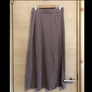GU モカブラウン リブ ラップスカート 巻きスカート風 L