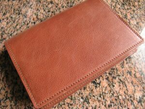 (g40) cow cow leather Italian leather book cover A6 library book@ for Anne teak brown