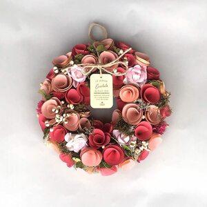 リース ギフト プレゼント フラワーリース 花のリース 新品 母の日 新築祝い 壁飾り 花輪 ウッディーロール ドライフラワー ピンク 赤