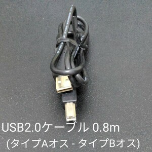 USB2.0ケーブル 0.8m (タイプAオス - タイプBオス)
