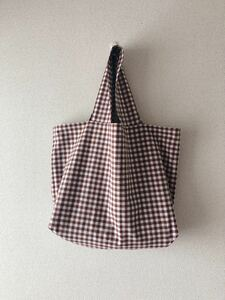 *handmade  シンプルトートバッグ ::えんじとしろ