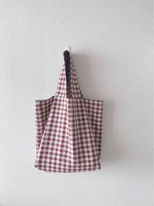 *handmade トートバッグ :: えんじとしろ