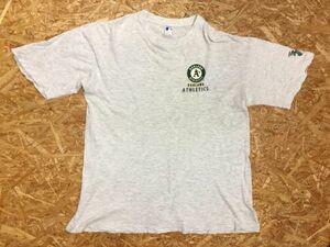 fujibo メジャーリーグ MLB 野球チーム オークランドアスレチックス OAKLAND A's 半袖Tシャツ メンズ 薄手 LL ライトグレー
