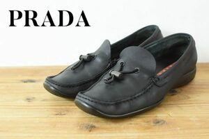 A6122 PRADA SPORT プラダ レディース レザー スリッポン シューズ 靴 ローファー ブラック 黒 90s vintage archives