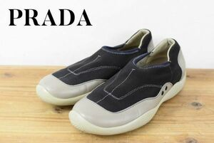 C6066 PRADA sport プラダ レディース レザー スリッポン シューズ ローファー マルチカラー ブラック グレー 36 1/2 22.5cm