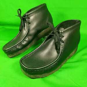即決 未使用品 Clarks 約26cm クラークス レザー ワラビー ブラック 黒色 メンズ ブーツ